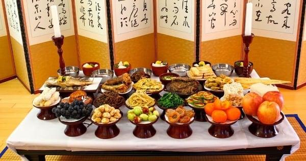 Comida típica coreana no Chuseok